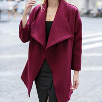 Plain Sleeve Lapel Woolen Coat