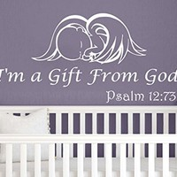 Wall Decals Quotes Vinyl Sticker Decal Quote Baby Angel Psalm 12:73 I'm a Gift From God Nursery Baby Room Kids Boys Girls Home Decor Bedroom Art Design Interior NS804
