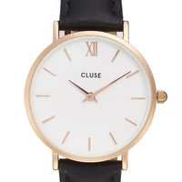 CLUSE 'Minuit' Leather Strap Watch, 33mm | Nordstrom