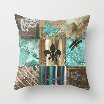Live and Love Whimsical Inspirational Design by Megan Duncanson© Throw Pillow by Megan Aroon Duncanson ~ MADART