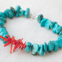 Bracelet turquoise and red coral silver Beaded Red green Layering bracelet Chinese style Modern Resort jewellery Boho bracelet Asian style