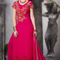 Pink Straight Suit with Embroidery