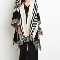 Striped Pattern Fringed Knitted Cardigan