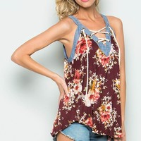 Flower Lace-Up Detail Top
