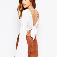 ASOS Kimono Sleeve Crop Top With Open Back And Tie