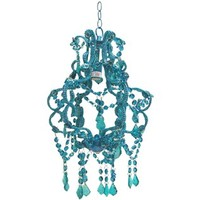 """15"""" Blue Beaded Hanging Chandelier 