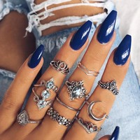 Meyfflin Bague Femne Punk Rings Set Vintage Silver Color Knuckles Finger Rings for Women Jewelry Boho Moon Crystal AnillosParty