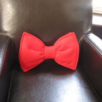 Bow Tie Pillow  Personalized  Custom  Geek Chic by freakyfleece