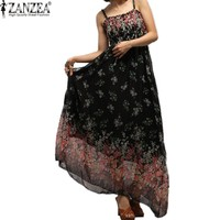 Maxi Dresses Elegant Floral Long Chiffon Dress Plus Size S-2XL