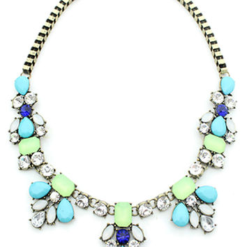 Faceted Stone Collar Necklace with Box Chain