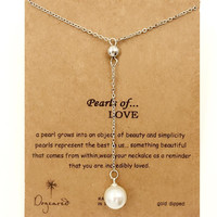 Dogeared Pearl Of Love Long Drop Sliver Plated Chain Clavicle Necklace