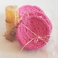 100% Cotton Face Scrubbies pink double thickness hand crocheted wash cloths