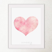 Light pink Heart print, Baby Pink decor Valentines Day decor, Pink PRINTABLE wall art print, Girly wall art Girls Bedroom decor Wall print