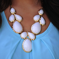 Falling For Jewels Necklace: White/Gold | Hope's