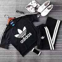 """Adidas"" Summer Fashion Casual Stripe Clover Letter Print Short Sleeve Set Two-Piece Sportswear"