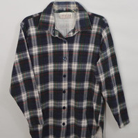 90s Plaid Shirt  Med Vintage Soft Grunge Tartan Hipster Womens Clothing 1990s Navy Red Green White Collared Long Sleeve Oversize