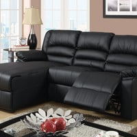 A.M.B. Furniture & Design :: Living room furniture :: Sofas and Sets :: Leather sectionals :: 2 Pc Greenbrooke collection black bonded leather sectional sofa with left side chaise and recliner chair
