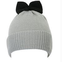 Gray Bow Embellished Beanie