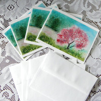 HANDMADE Note Card set, Photo Watercolor Cards, Pink Stationary, Mother's Day Gift, Watercolour reproduction