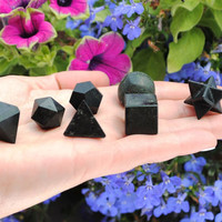7pcs Black Tourmaline Crystal Platonic Solids Sacred Geometry Set ~ Beautiful Crystal Healing Set