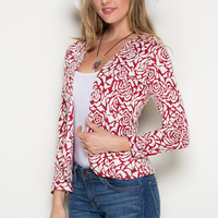 Red Rose Floral Blazer