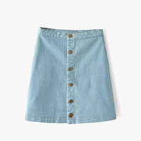 Button Front Denim Mini Skirt