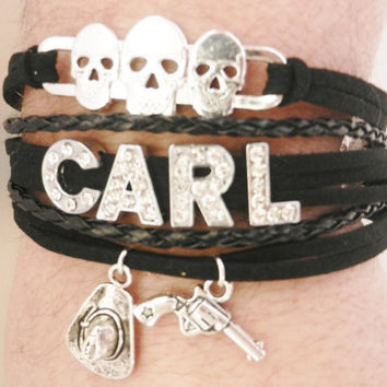 THE WALKING DEAD Carl Grimes Zombie Skulls Hat Pistol Charms Adjustable Black Bracelet Women's Jewelry Christmas Gift Birthday Gift