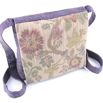 Tapestry toile crossbody purse with flap - OOAK bag in dark orchid - small purse with long strap - durable bag handmade from recycled fabric