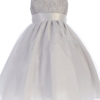 Silver Tulle Overlay Girls Dress with Sleeveless Corded Bodice 3M-10