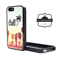 Custom Fashion Apple iPhone 5C or 5S 5 Fitted Phone Case Cover Cute California Cali Sunset Palm Tree Hollywood Los Angeles LA Beach Summer