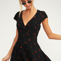 Best Day Ever Black Cherry Print Skater Dress