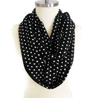 Black Cute Heart Print Scarf, Love Scarf, Gift for her, Heart Scarf, Valentines Scarf, Girl Accessory, Women Scarf, For Mom, Soft Scarf