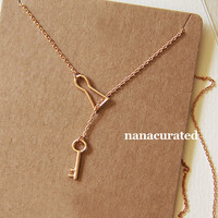Key and Lock Charm Necklace, Chain Necklace, Hipster Necklace, Dainty Jewelry, Tiny Arrow Necklace, Gift Ideas, Holiday Gifts