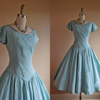 1950s Dress - Vintage 50s Dress - Aqua Designer Circle Skirt Princess Party - Under the Waves