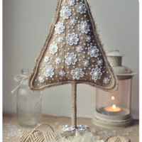"Rustic Christmas home decor - OOAK - Christmas tree ""burlap with lace"""
