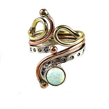 Fire Opal Sterling Silver Three Tone Whimsical Ring