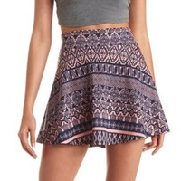 High-Waisted Tribal Print Skater Skirt by Charlotte Russe - Coral