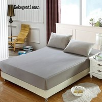 Super Soft Fitted Sheet Mattress Cover With Elastic Band Bed Sheet & Pillowcases Solid Color Single Full Queen King