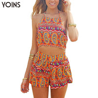 YOINS Fashion Women Boho Floral Printed Halter Playsuit Sexy Backless Sleeveless Jumpsuit Rompers