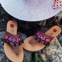 Boho Ethnic Tribal Sandals Brown with Pompoms