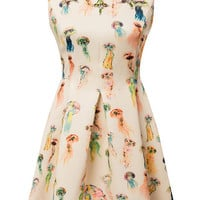 Beige Sleeveless Pleated Skater Dress with Multi Color Jellyfish Print