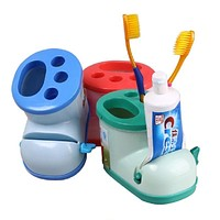 Creative Boot Shape Toothbrush Holder with Toothpaste Squeezer Multifunctional Cute Tooth Brush Toothpaste Stand Holder for Kids