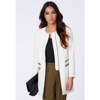 Missguided - Jenelle Zip Detail Collarless Jacket Ivory