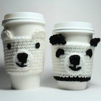 Cyber Monday Etsy Sale coffee cozy panda and polar bear gift set crochet cup sleeves