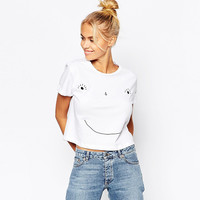 White Smiley Printed Casual Shirt
