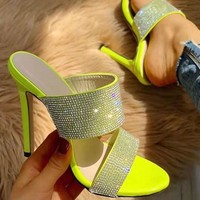 New style of sandals are super thin and super high heels