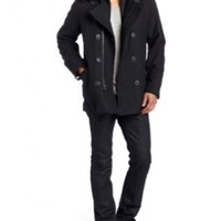 Levi's Men's Wool Melton Fashion Peacoat, Black, XX-Large