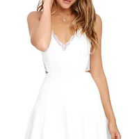 Perfect Evening Ivory Lace Skater Dress
