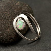 Opal Ring Silver Opal Ring Sterling Silver Stone Ring by Artulia