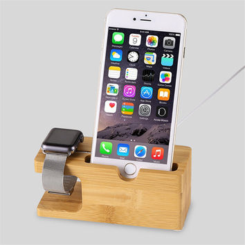 For Apple Watch Stand Wood Charger Holder Genuine Natural Bamboo Luxury Stand Holder For iPhone 6 6s 6plus 5 5S 4 4S Xiaomi